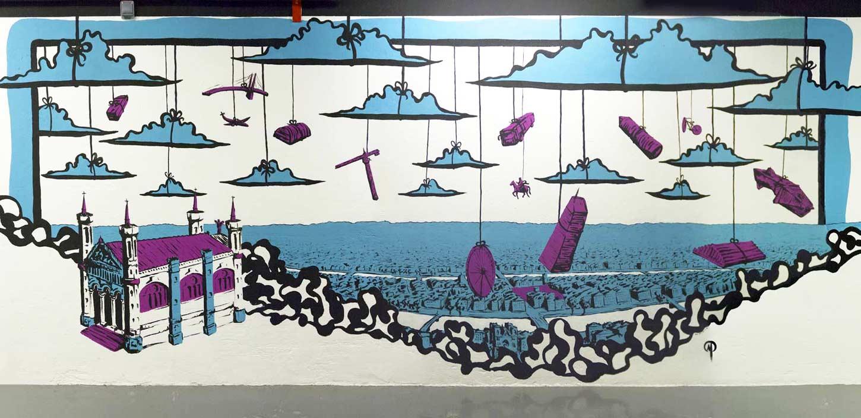 Fresque pour le centre commercial de la Part-Dieu à Lyon