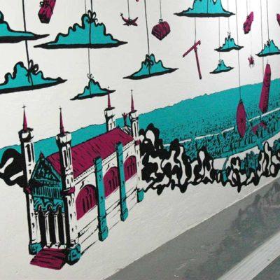 Fresque dans une coursive du centre commercial de la Part Dieu