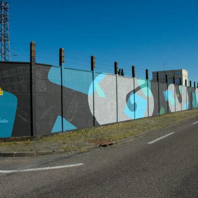 Fresque à Gueugnon sur le mur d'un poste Enedis