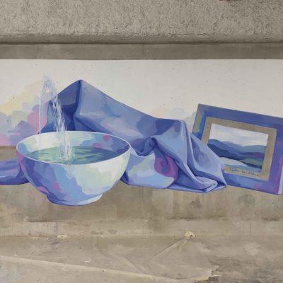 Fresque sur béton brut